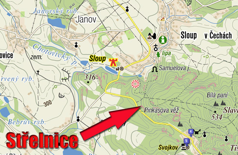 mapa strelnice novy bor
